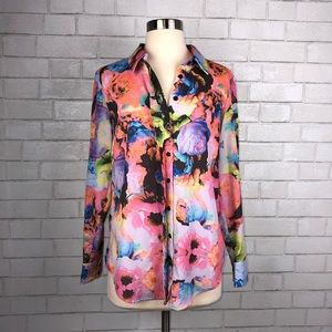 Finders Keepers Watercolor Floral Shirt XS X2423